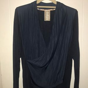 Wrap front inky blue blouse
